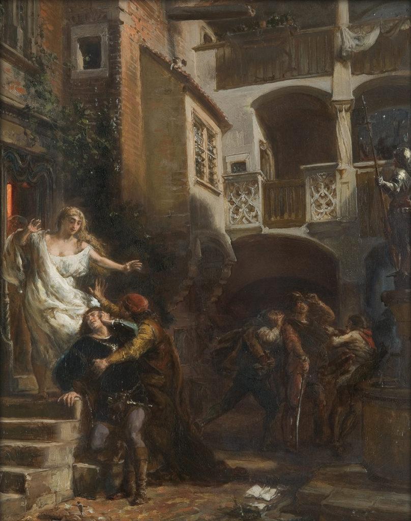 Mężczyźni w późnośredniowiecznej uliczce obok kobiety w luźnych szatach i oburzonej szlachty